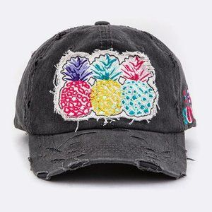 Pineapple Embroidered Patch Cotton Hat Black